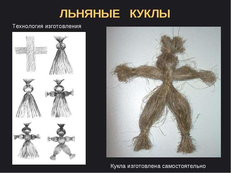 ЛЬНЯНЫЕ КУКЛЫ Технология изготовления Кукла изготовлена самостоятельно