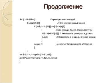Продолжение for (i=0;iW[ni]+A[ni][i]) { //или сосед с более длинным путем W[i...