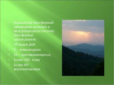 Кавказский биосферный заповедник включен в международную систему биосферных з...