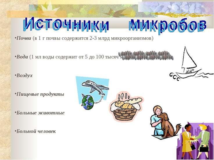 Почва (в 1 г почвы содержится 2-3 млрд микроорганизмов) Вода (1 мл воды содер...