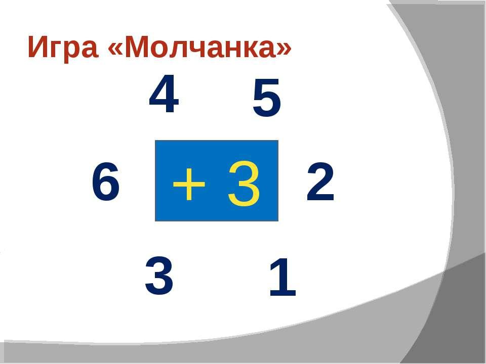 Игра «Молчанка» + 3 1 2 3 4 5 6