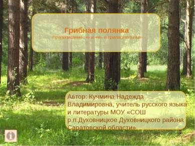 Грибная полянка Правописание –н- и -нн- в прилагательных Автор: Кучмина Надеж...