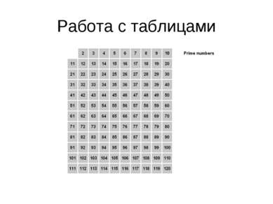 Работа с таблицами