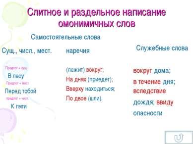 Слитное и раздельное написание омонимичных слов Самостоятельные слова Служебн...