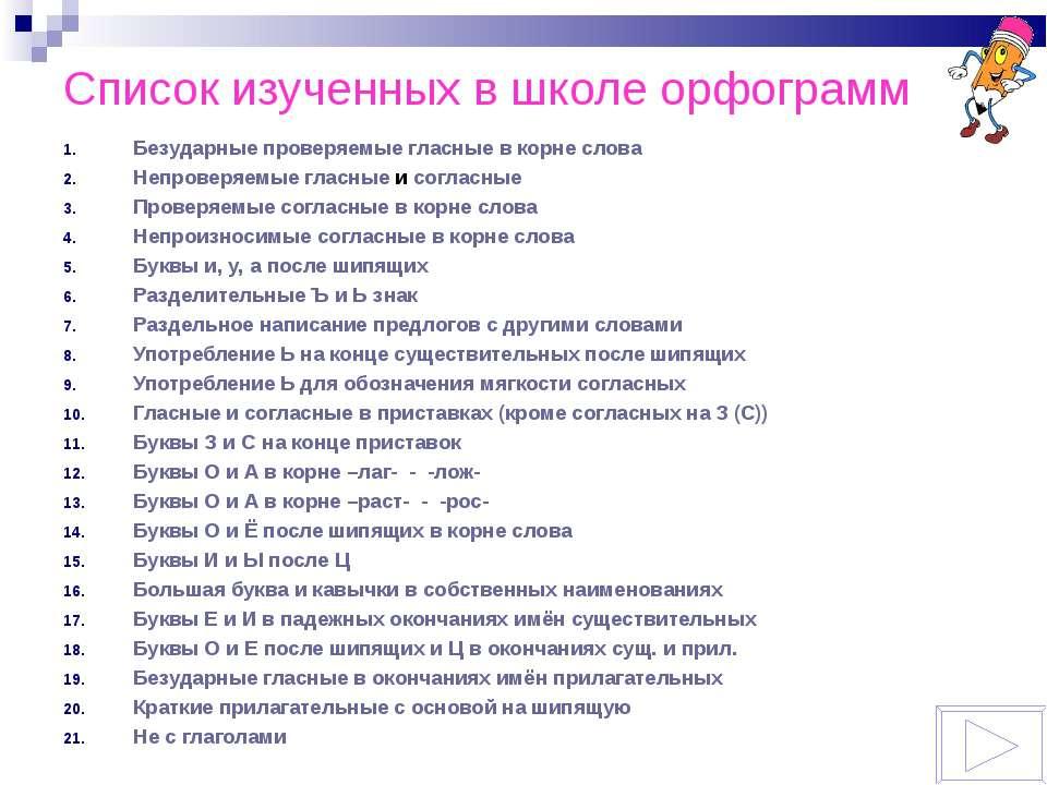 Список изученных в школе орфограмм Безударные проверяемые гласные в корне сло...