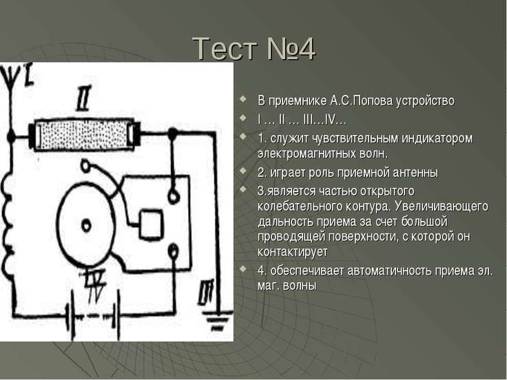 Тест №4 В приемнике А.С.Попова устройство I … II … III…IV… 1. служит чувствит...