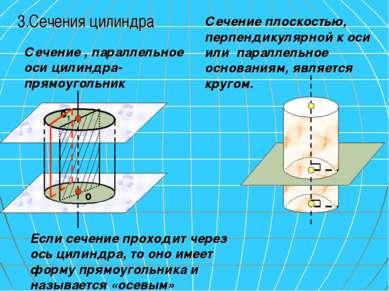 Если сечение проходит через ось цилиндра, то оно имеет форму прямоугольника и...