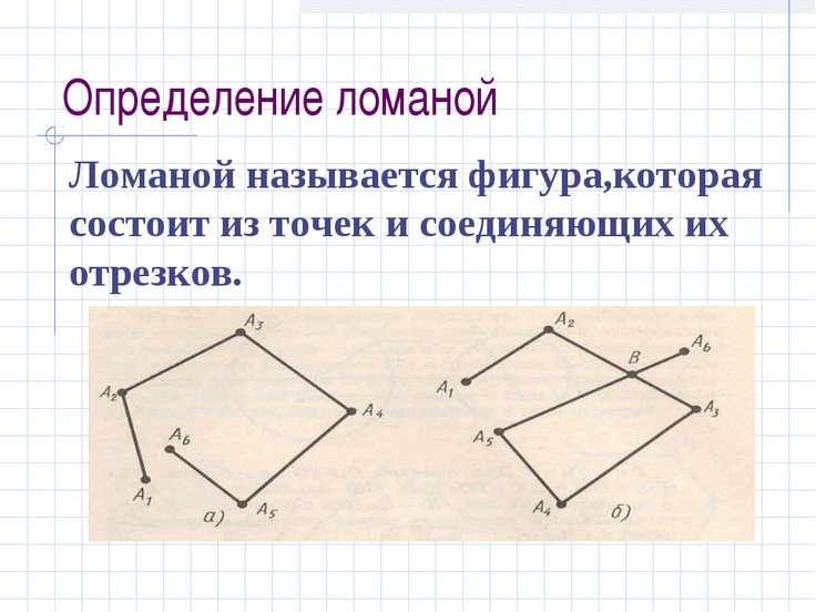Определение ломаной Ломаной называется фигура,которая состоит из точек и соед...