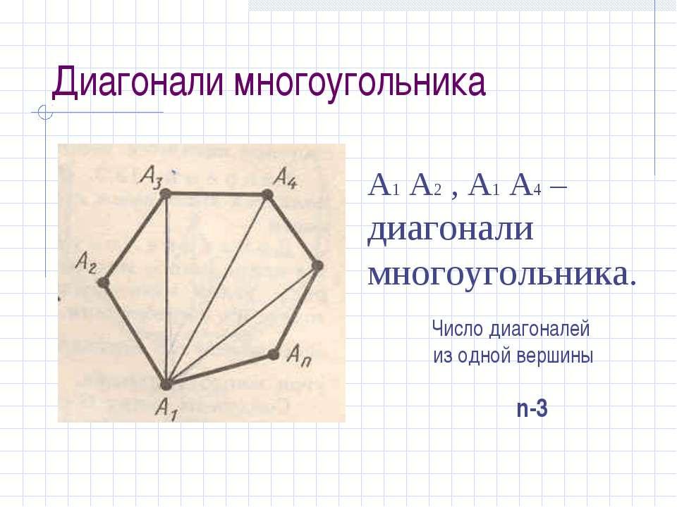 Диагонали многоугольника А1 А2 , А1 А4 – диагонали многоугольника. Число диаг...