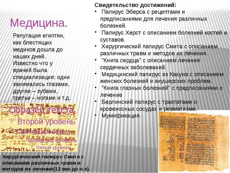 Медицина. Свидетельство достижений: Папирус Эберса с рецептами и предписаниям...
