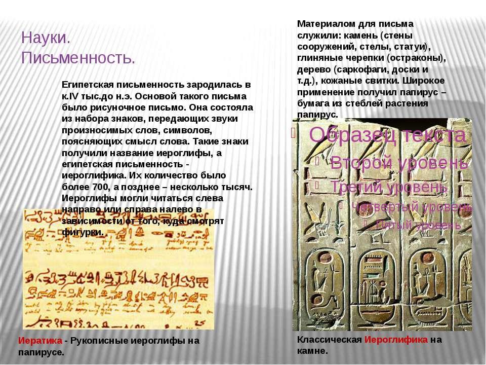 Науки. Письменность. Иератика - Рукописные иероглифы на папирусе. Классическа...