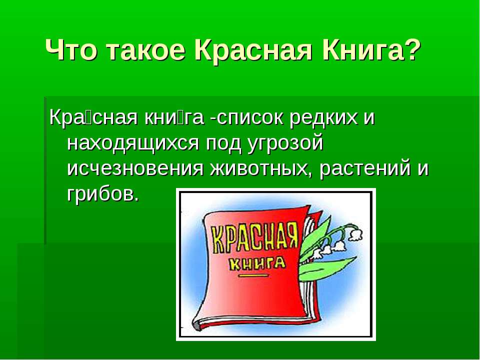 Что такое Красная Книга? Кра сная кни га -список редких и находящихся под угр...