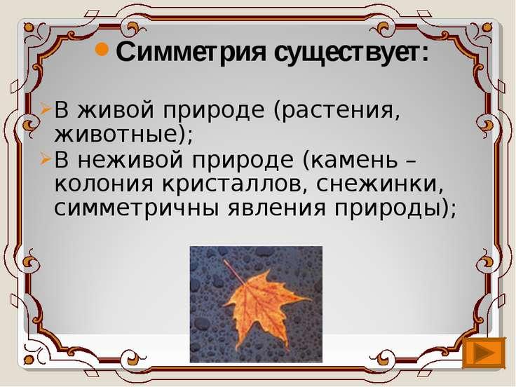 Симметрия существует: В живой природе (растения, животные); В неживой природе...