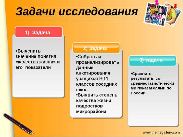 Задачи исследования 3) задача 2) Задача 1) Задача Выяснить значение понятия «...