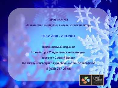 ПРОГРАММА «Новогодние каникулы» в отеле «Свежий ветер» 30.12.2010 - 2.01.2011...