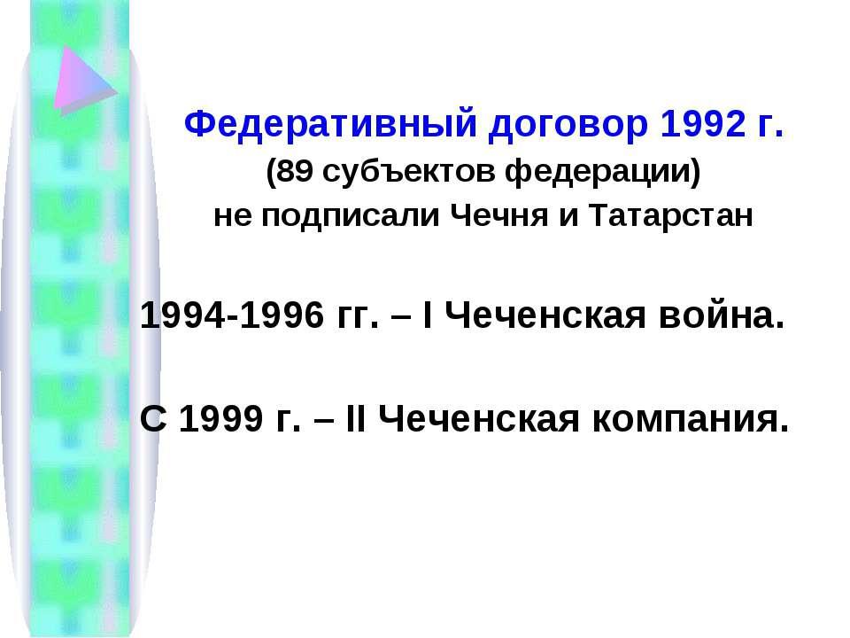 Федеративный договор 1992 г. (89 субъектов федерации) не подписали Чечня и Та...