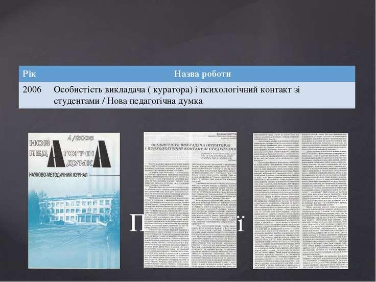 Публікації Рік Назва роботи 2006 Особистість викладача ( куратора) і психолог...