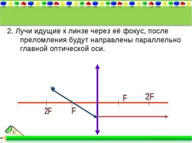 2. Лучи идущие к линзе через её фокус, после преломления будут направлены пар...