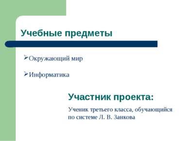 Учебные предметы Окружающий мир Информатика Участник проекта: Ученик третьего...