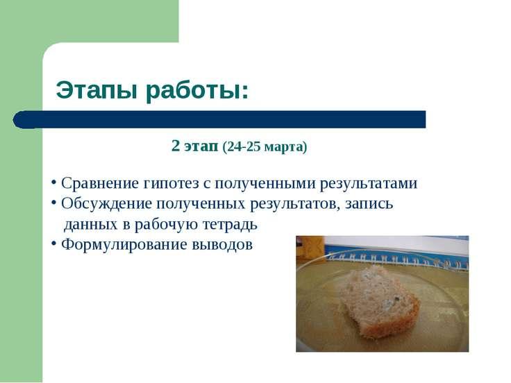 Этапы работы: 2 этап (24-25 марта) Сравнение гипотез с полученными результата...