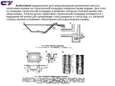 Водоотвод предназначен для предотвращения увлажнения грунта и затопления выем...