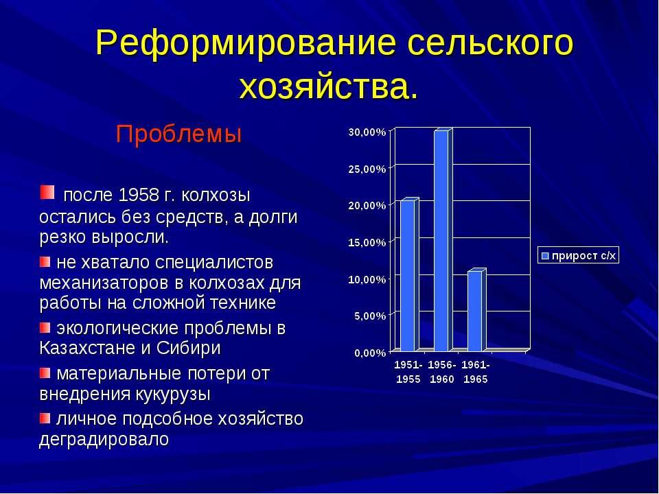 Реформирование сельского хозяйства.