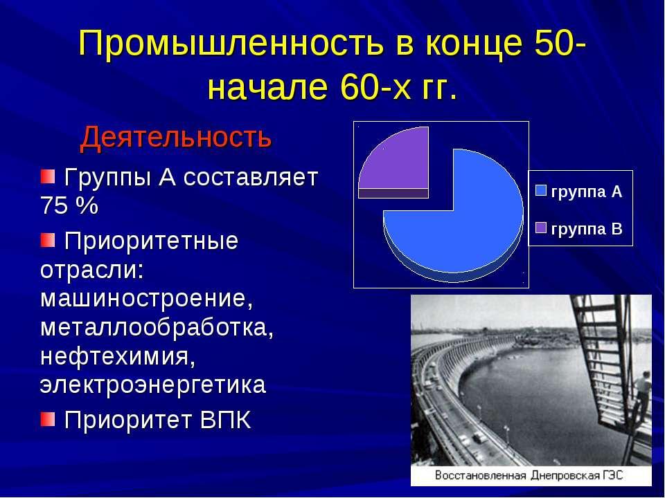 Промышленность в конце 50-начале 60-х гг.