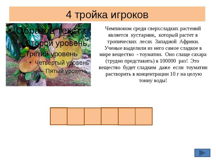 4 тройка игроков Чемпионом среди сверхсладких растений является кустарник, ко...
