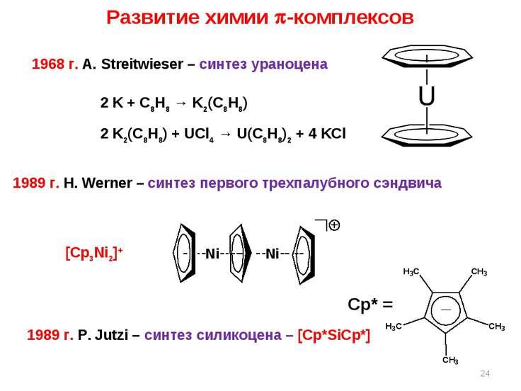 * Развитие химии -комплексов 1968 г. A. Streitwieser – синтез ураноцена 2 K +...
