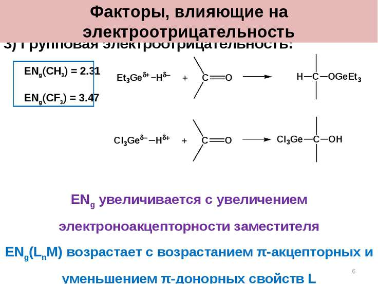 3) Групповая электроотрицательность: ENg(CH3) = 2.31 ENg(CF3) = 3.47 ENg увел...