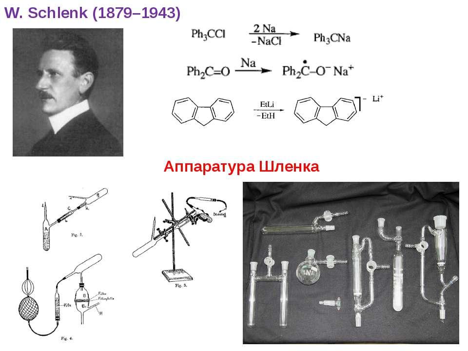 * W. Schlenk (1879–1943) Аппаратура Шленка