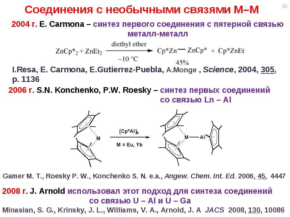 * 2004 г. E. Carmona – синтез первого соединения с пятерной связью металл-мет...