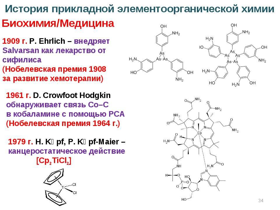 * История прикладной элементоорганической химии Биохимия/Медицина 1909 г. P. ...