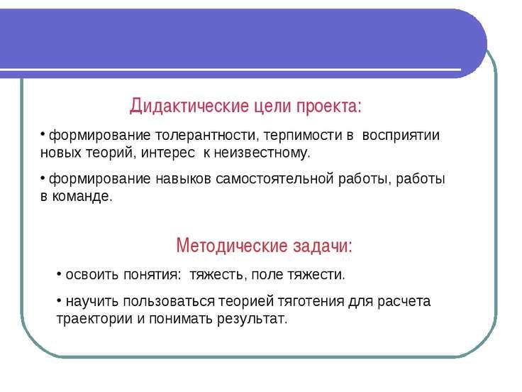 ДЦ и МЗ Дидактические цели проекта: формирование толерантности, терпимости в ...