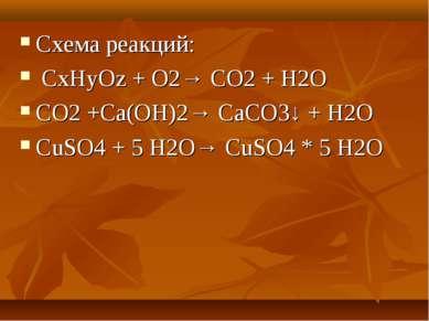 Схема реакций: CxHyOz + O2→ CO2 + H2O CO2 +Сa(OH)2→ СaCO3↓ + H2O CuSO4 + 5 H2...