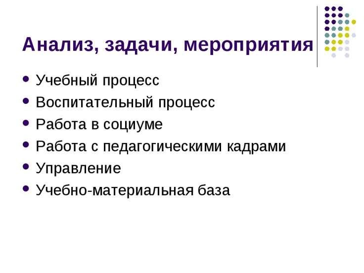 Анализ, задачи, мероприятия Учебный процесс Воспитательный процесс Работа в с...