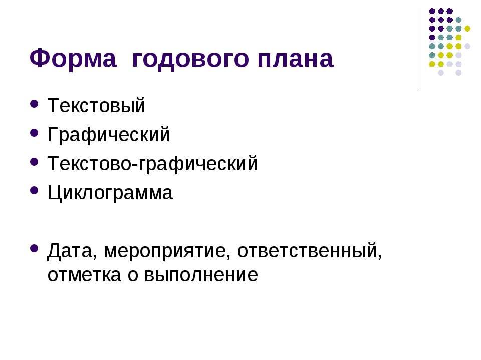 Форма годового плана Текстовый Графический Текстово-графический Циклограмма Д...