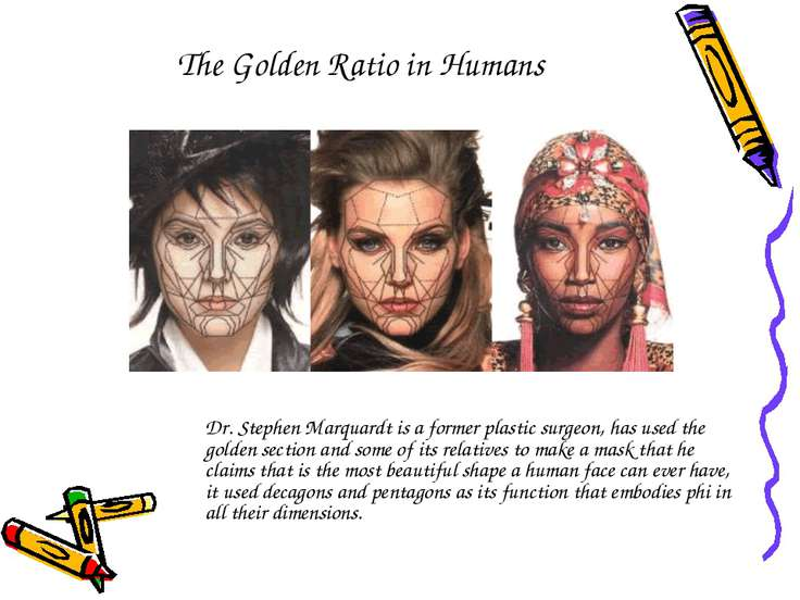The Golden Ratio in Humans Dr. Stephen Marquardt is a former plastic surgeon,...