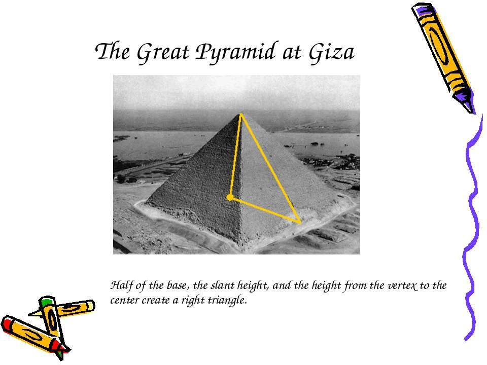 The Great Pyramid at Giza Half of the base, the slant height, and the height ...