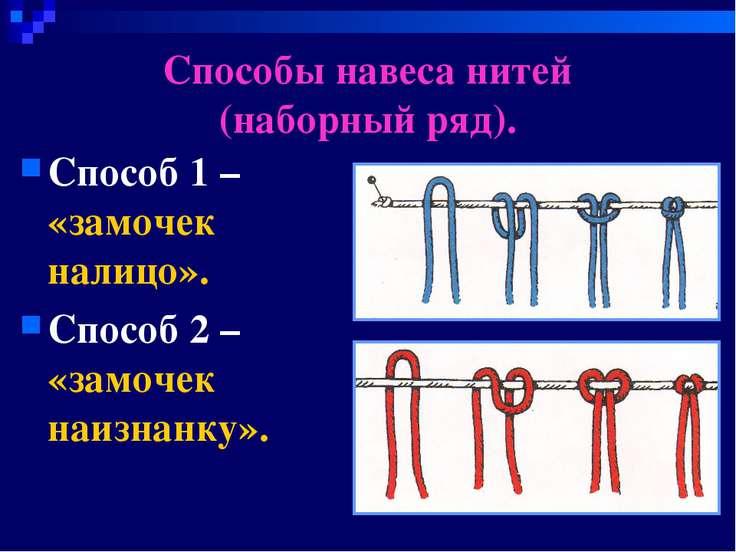 Способы навеса нитей (наборный ряд). Способ 1 – «замочек налицо». Способ 2 – ...