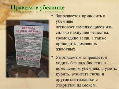 Запрещается приносить в убежище легковоспламеняющиеся или сильно пахнущие вещ...