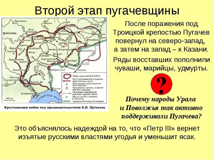 Второй этап пугачевщины После поражения под Троицкой крепостью Пугачев поверн...