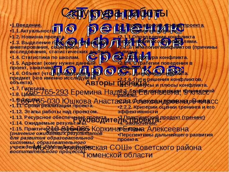 Авторы проекта: 266-765-293Еремина Надежда Евгеньевна, 9 класс 266-765-030Ю...
