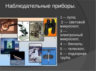 Наблюдательные приборы. 1— лупа; 2 — световой микроскоп; 3 — электронный микр...