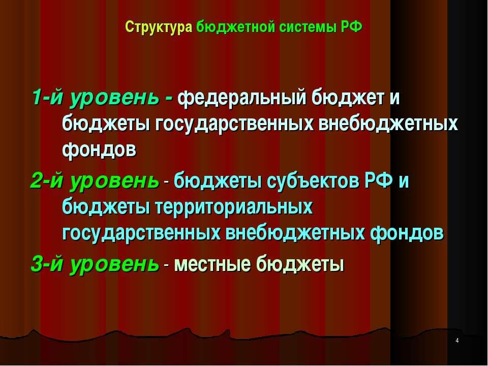 Структура бюджетной системы РФ 1-й уровень - федеральный бюджет и бюджеты гос...