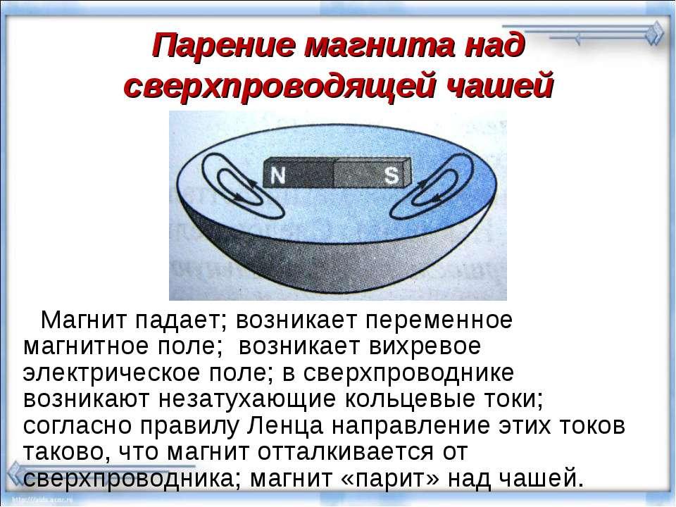 Парение магнита над сверхпроводящей чашей Магнит падает; возникает переменное...