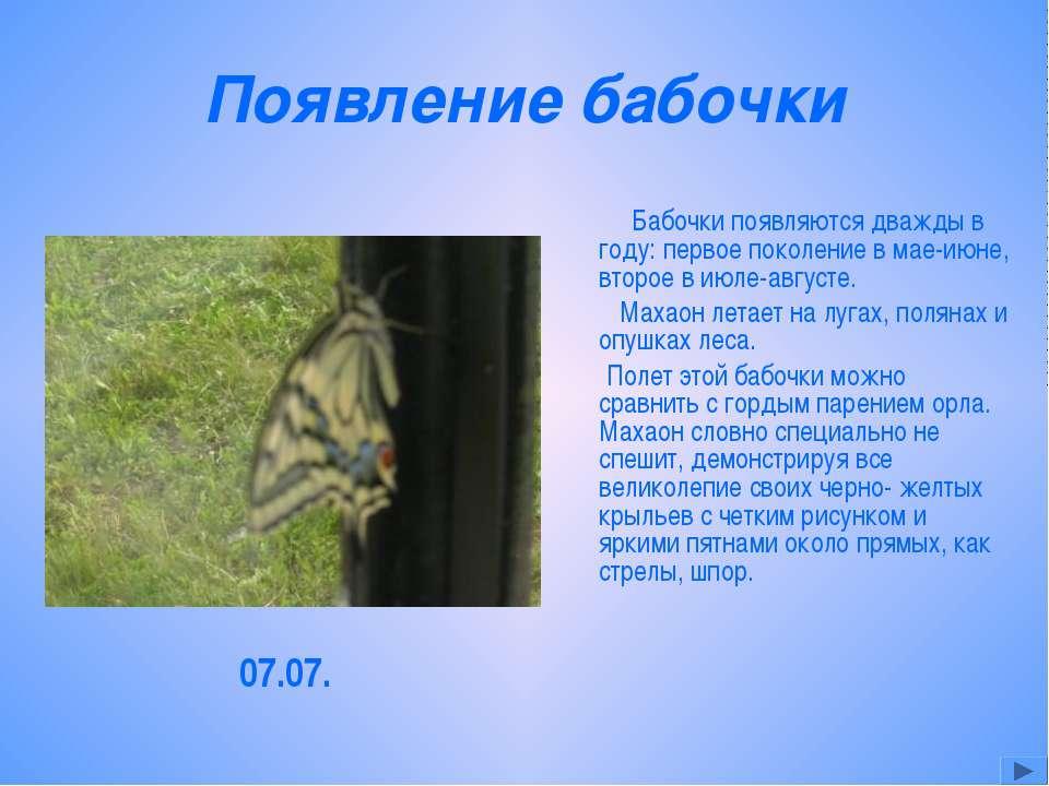 Появление бабочки Бабочки появляются дважды в году: первое поколение в мае-ию...
