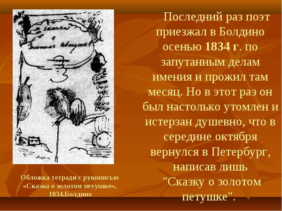 Последний раз поэт приезжал в Болдино осенью 1834 г. по запутанным делам имен...