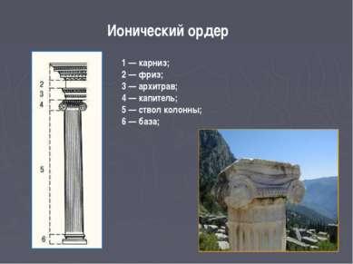 Ионический ордер 1 — карниз; 2 — фриз; 3 — архитрав; 4 — капитель; 5 — ствол ...