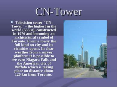 "CN-Tower Television tower ""CN-Tower"" - the highest in the world (553 м), cons..."